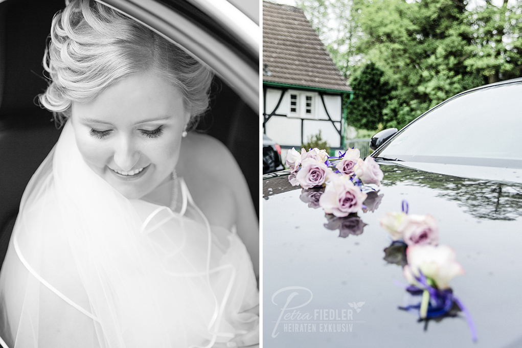 Braut im Brautwagen