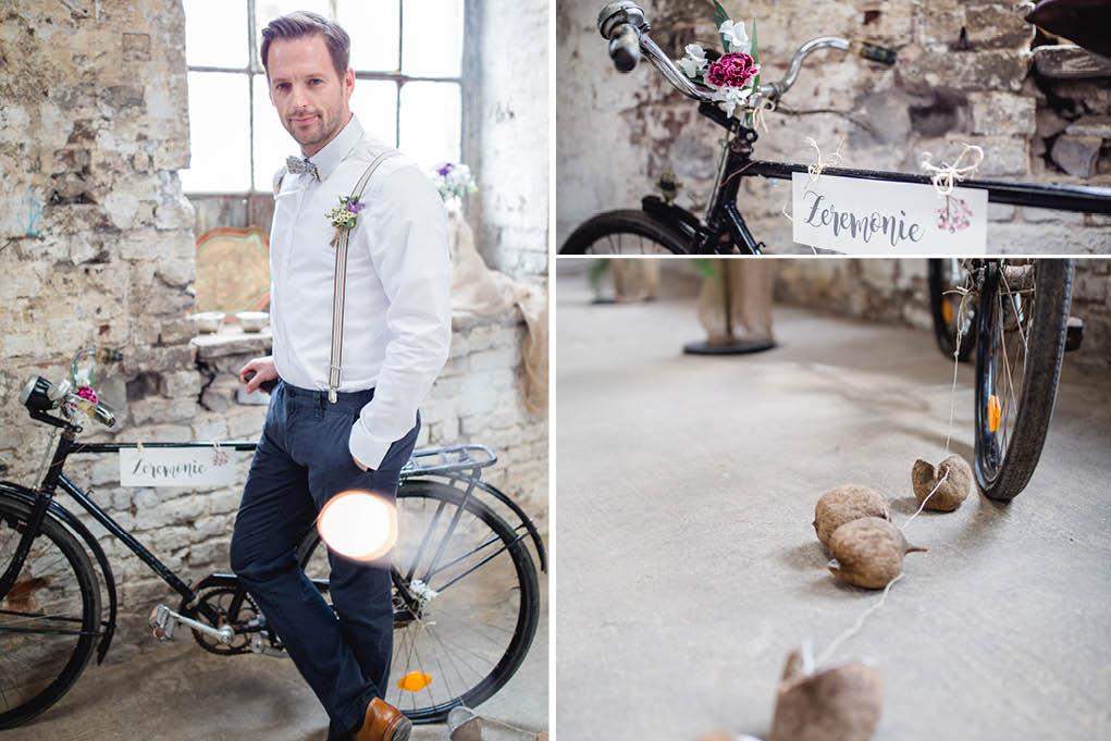 Trauzeuge mit vintage Fahrrad
