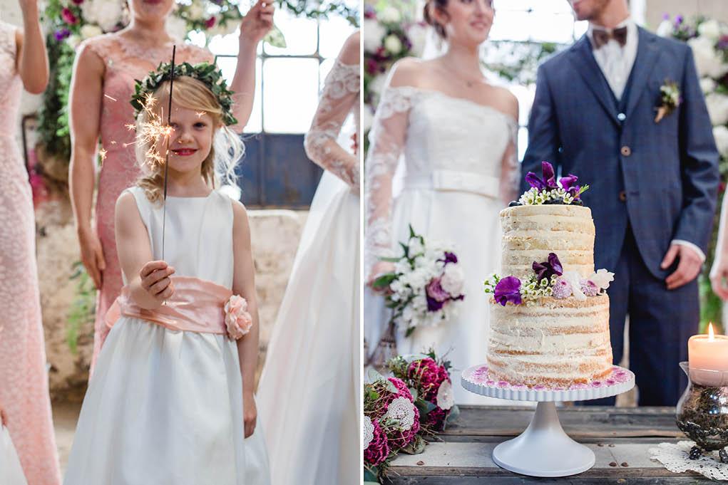 Wunderkerzen und Hochzeitstorte, papeterie